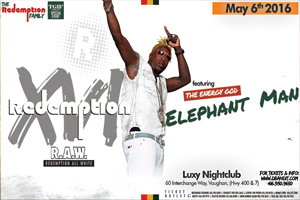 R.A.W. Redemption (XVI) All White feat. The Energy God – Elephant Man inside TGIF Fridays @ Luxy